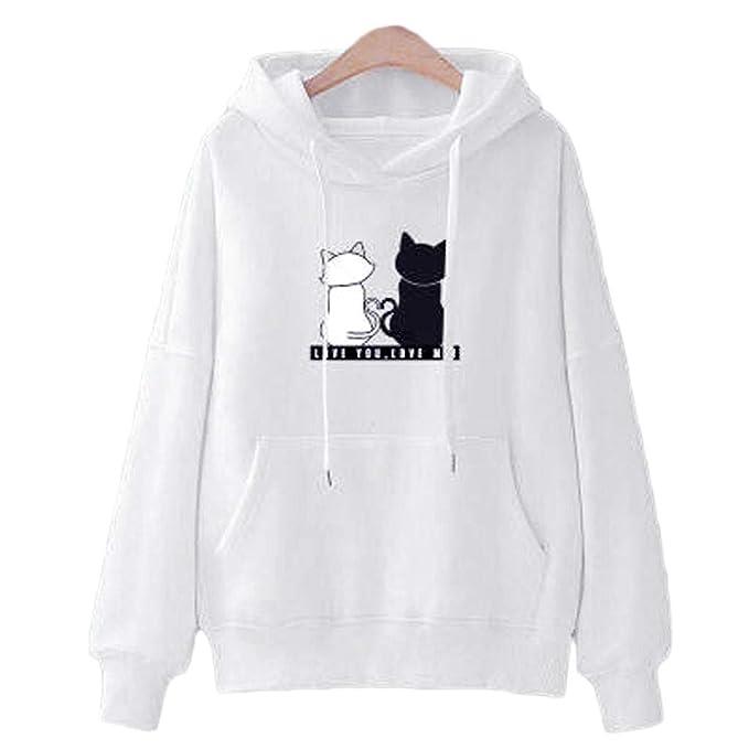 Mymyguoe Mujer Sudaderas con Capucha Estampado de Gato Sudaderas para Adolescentes Chicas Camiseta de Manga Larga Blusa Camisa Otoño e Invierno Pullovers: ...