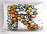 Ambesonne Letter R Pillow Sham, Realistic Looking Volleyball Basketball Soccer Balls Language of The Game Theme, Decorative Standard Queen Size Printed Pillowcase, 30 X 20 inches, Multicolor