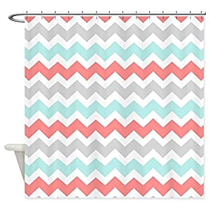 Amazon.com: CafePress - Coral Aqua Grey White Chevron Shower ...