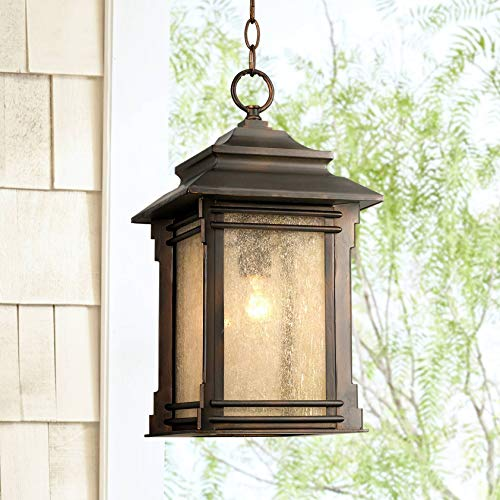 Hickory Point Rustic Outdoor Ceiling Light Hanging Lantern Walnut Bronze 19 1/4