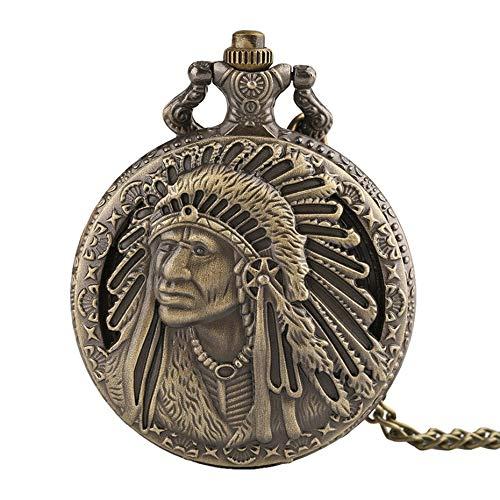 Antique Portrait Design Face Quartz Pocket Watch | Normal 80cm Necklace Chain | Male Clock | Best Gifts | Men