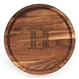 BigWood Boards W110-H Thick Round Cutting Board, 16-Inch by 1-Inch, Monogrammed ''H'', Walnut