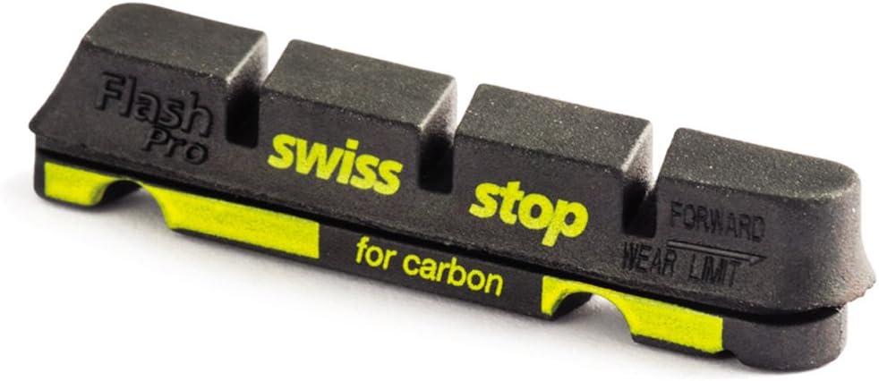 SwissStop Flash Pro almohadillas de bicicleta de carretera, para llantas de carbono, negro (Black Prince), 4 piezas