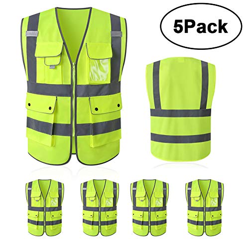 Tekware High Reflective and Breathable Safety Vest, Pack of 5 Bright Neon Color Construction Protector with Reflective Strips and Zipper with 6 Pockets