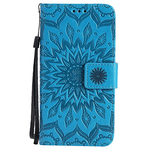 Galaxy J7 V Case J7 Perx /J7 Sky Pro Cover ZVKVAMT Luxury Natural Silk PatternPU Leather Wallet Flip Protective With Credit Card Slots Stand Magnetic Wristlet Strap for Samsung J7 2017 (FL-BLUE)