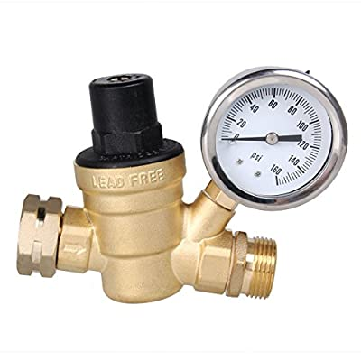 AECOJOY Water Pressure Regulator Brass Lead Free, NH Thread for RV, Adjustable Plumbing with Guage from AECOJOY