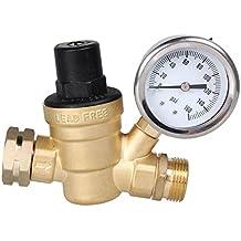 AECOJOY Water Pressure Regulator Brass Lead Free, NH Thread for RV, Adjustable Plumbing with Guage