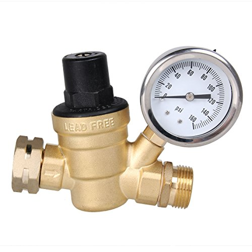 AECOJOY Water Pressure Regulator Brass Lead Free, NH Thread for RV, Adjustable Plumbing with Guage