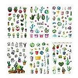 Cactus Stickers, Cute Cactus Plant Decorative Stickers for Stationery, Stick Label, DIY Diary Scrapbook, Planner Album Journal Laptop Decoration, 6 Sheets(150pcs)