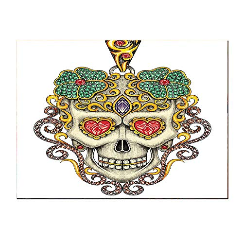 (SATVSHOP Canvas painting-48Lx24W-Day of The Dead Sugar Skull with Heart Pendants and Floral Jewelry White Ivory and Yellow.Self-Adhesive backplane/Detachable Modern Decorative Art.)