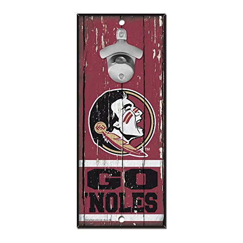 WinCraft NCAA Florida State Seminoles 5×11 Wood Sign Bottle Opener, Team Colors, 5 x11