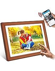 """WiFi Digitaler Bilderrahmen, YENOCK 10.1""""Touchscreen 1280 * 800 Eingebauter 16 GB Speicher Hoch- und Querformat Sofortiges Teilen von Fotos und Videos (Wood+White)"""