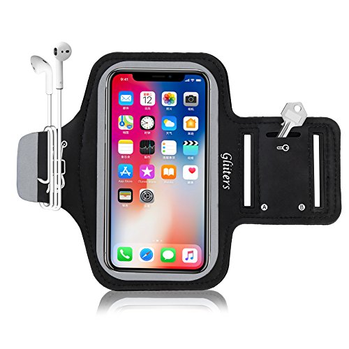 .2 inch Cell Phone Pouch Case fit iPhone X 8 7 6 6S SE 5 5C 5S Galaxy S5 S6 S7 S8 - Adjustable Velcro Water Resistant Sports Workout Band, Key Holder, Earphone Winder ()