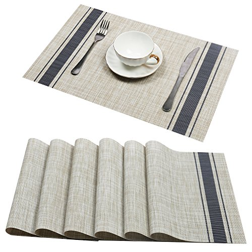 - U'Artlines Set of 6 Placemats,Placemats for Dining Table,Heat-Resistant Placemats, Stain Resistant Washable PVC Table Mats,Kitchen Table mats (Placemats 6pcs, A Blue)