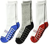 Jefferies Socks Big Boys' Athletic Sport Half Cushion Crew Socks 3 Pair Pack, Multi, Large