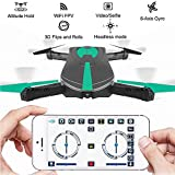 JY018 Mini Wifi Drone, 2.4GHz RTF Pocket RC Quadcopter with 0.3MP HD FPV Camera, 4 Chanel 6-Axis Gyro, Headless Model, G-sensor Mode & Track-controlled Mode with Night Light
