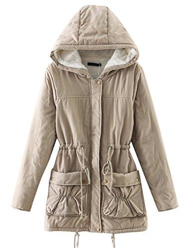 Chartou Women's Lovely Thicken Zip-Fly Hooded Lambswool Fleece Lined Long Jacket Coat Outwear (Large, ()