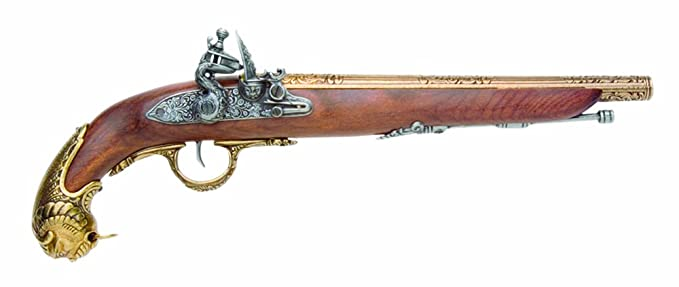 Denix 18th Century German Flintlock Pistol, Brass - Non-Firing Replica