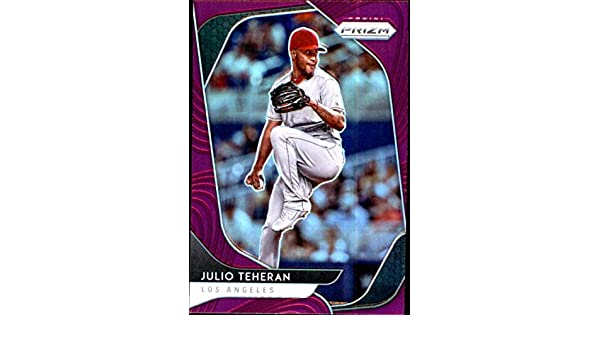 2020 Panini Prizm Purple Prizm #42 Julio Teheran Los Angeles Angels Baseball Trading Card