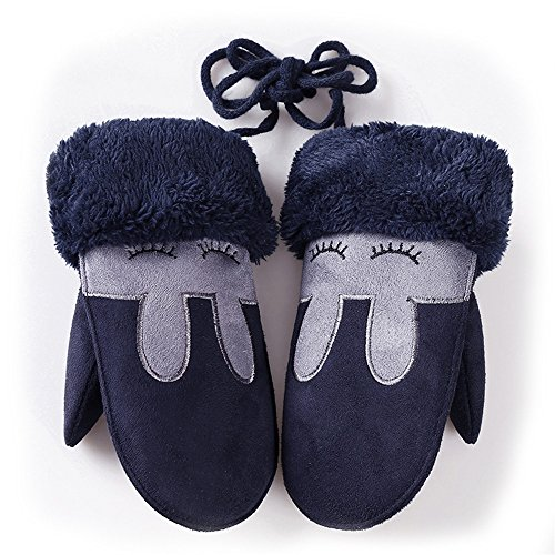 Jinguang Little Kids Cute Cartoon Animal Gloves Winter Warm Wool Knit Gloves with String-Children winter gifts