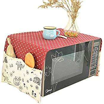 Microwave Oven Cover Dustproof Electric Oven Cover Dust Oil Proof Protection 38.7X13 Inch Red
