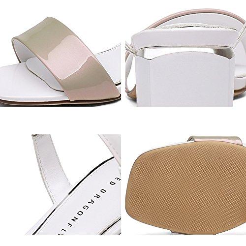 Color profesional 235 Toe Albaricoque colores Zapato 5 Dew CN37 mujer moda cm Negro LIXIONG verano Rhinestone de del 3 UK4 colgante tacón Metal Zapatillas 4 5 Tamaño Altura moda EU37 Zapatos vxwqAw1