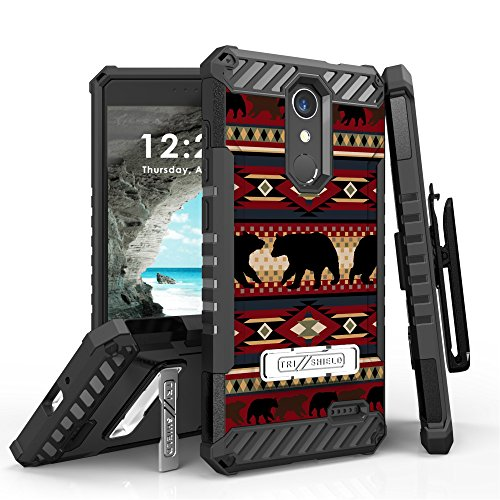 for Grand X4, for Blade Spark Case, Trishield Durable RuggedPhone Cover with Holster Detachable Lanyard Loop and Built in Kickstand Card Slot - Bear Southwest Lodge