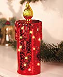 10'' Red Mercury Glass Lighted Battery Operated Table Top Decor Christmas Holiday Candle Decoration