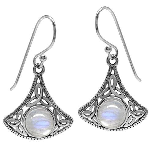 Natural Moonstone 925 Sterling Silver Triquetra Celtic Knot Dangle -
