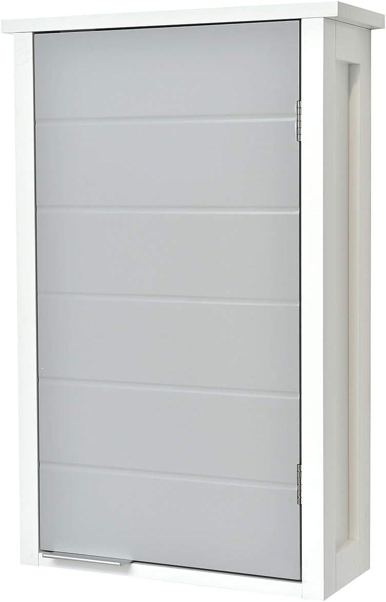 TENDANCE Meuble Haut de Salle de Bain à Fixer au Mur - 144 Rangement 144 Porte  - Coloris Blanc et Gris