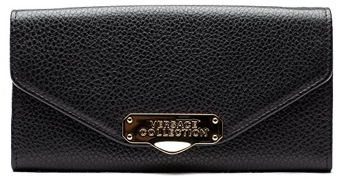 Versace-Collection-Pebbled-Leather-Envelope-Wallet-On-Chain-Black-LPD0340