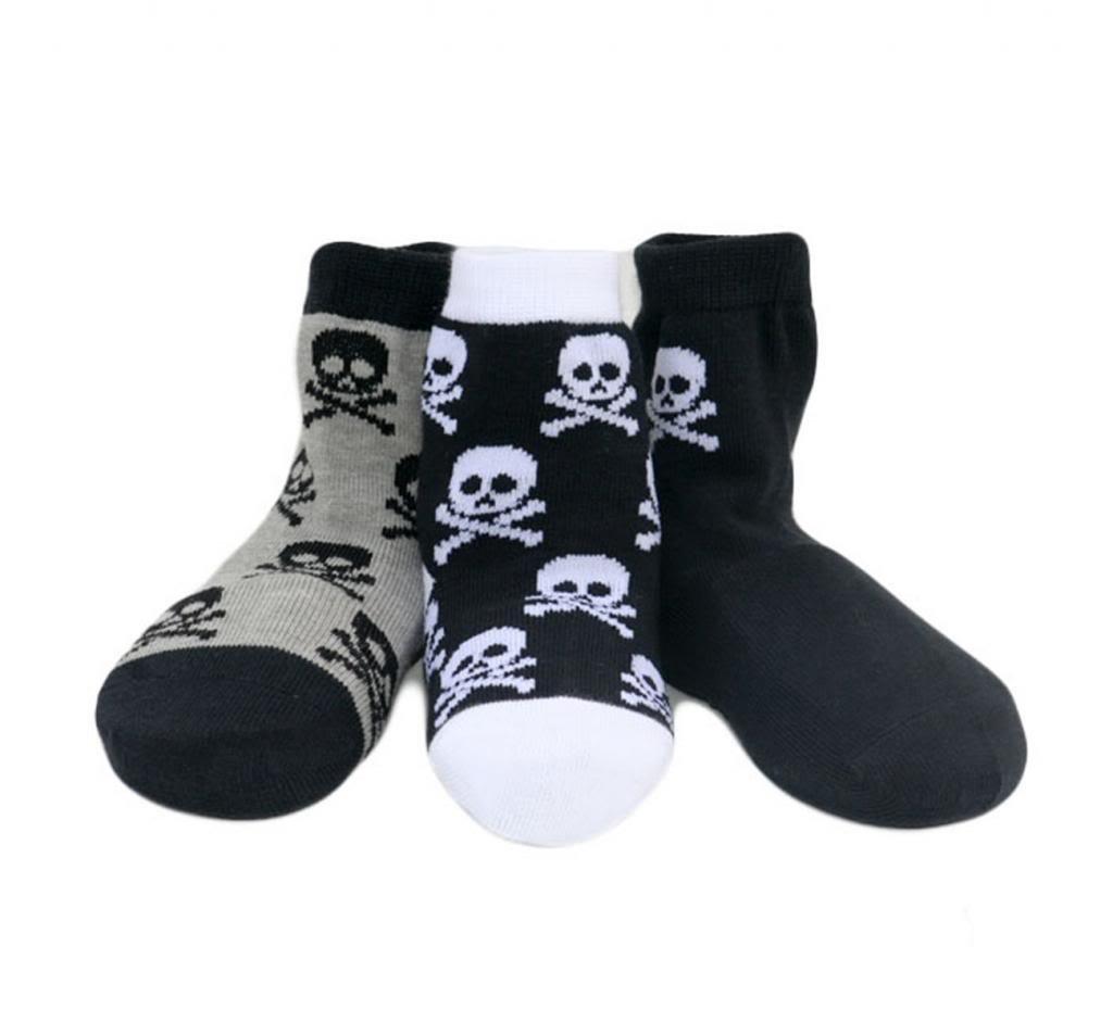 Born To Love Boy's Organic Cotton Skull Sock Set-Multi-2-3Years