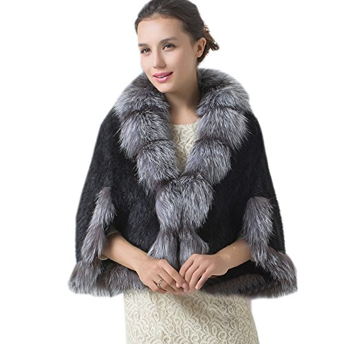 Top Fur Women's Real Mink Fur Knitted Cape Shawl Cappa with Sliver...