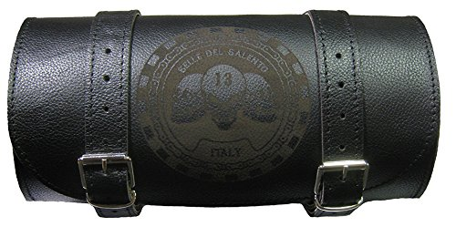 Barilotto leather bag 20x10 engraved skull shull tool holder bikebag satteltasche compatible with harley devindson motorcycle guzzi triumph Selle del Salento