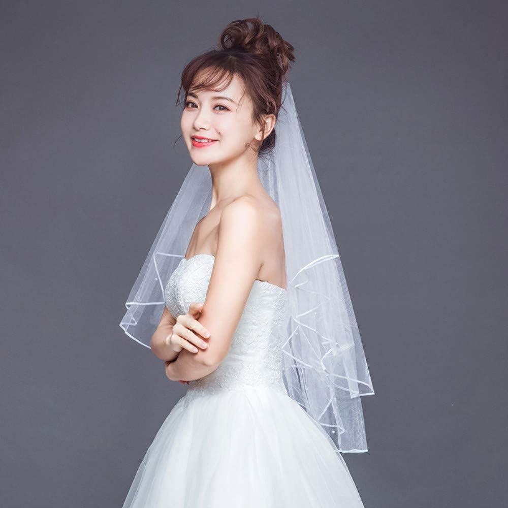 FengJingYuan-ZHUBAO Two-Tier Pearl Wedding Bridal Wedding Veil with Hair Comb Elbow Veils