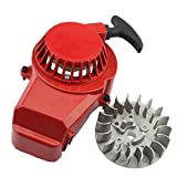 GOOFIT Alloy Pull Start Recoil Starter with Flywheel for 47cc 49cc Pocket Dirt Bike Mini ATV