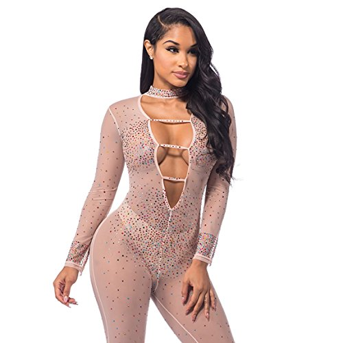Sedrinuo Women's Sexy Bodycon Deep V Neck Rhinestone Embellished Jumpsuit Party Club Fashion Romper,Beige,2/4(Small)