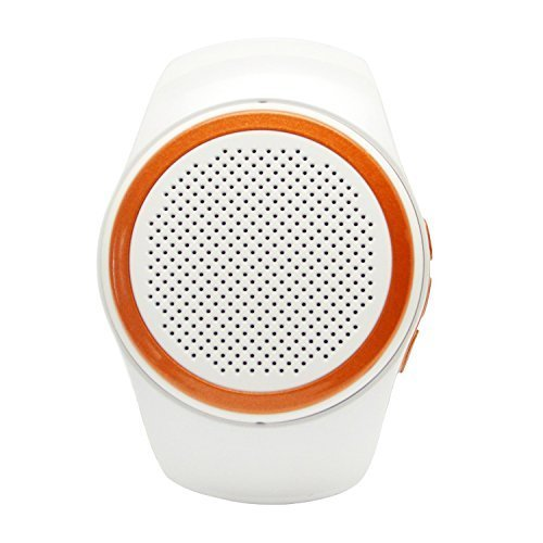 Lamyik Portable Bluetooth Speaker Watch with FM Radio and Hands Free Microphone, Support Micro Memory Card and Bluetooth Shooting (White)