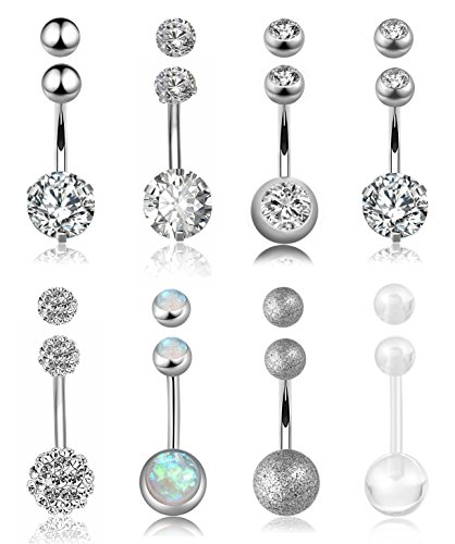 FIBO STEEL 8 Pcs Stainless Steel Belly Button Rings for Women Girls Navel Barbell Body Jewelry Piercing ()