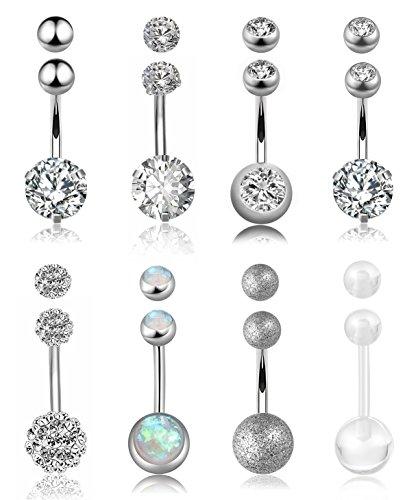 FIBO STEEL 8 Pcs Stainless Steel Belly Button Rings Women Girls Navel Barbell Body Jewelry Piercing (Black Dangling Navel Ring)