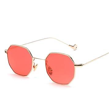 f27141d26a RFVBNM Gafas de sol cuadradas pequeñas Piezas de mar Retro Gafas de Sol  Hombres y Mujeres Gafas de Sol Espejo Plano, Lente roja Marco de Oro:  Amazon.es: ...