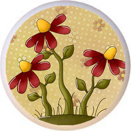 DESIGN #3 FLOWERS - Peaceful Petals Country BC - DECORATIVE Glossy CERAMIC Drawer PULL Dresser KNOB (Design Flower Knob Petal)