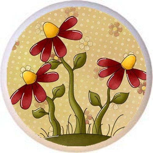DESIGN #3 FLOWERS - Peaceful Petals Country BC - DECORATIVE Glossy CERAMIC Drawer PULL Dresser KNOB (Knob Flower Petal Design)