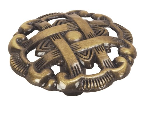 Hardware House 64-2991 Weave Style Cabinet Knob, Antique Brass