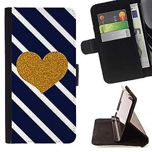 For Samsung Galaxy A5 ( A5000 ) 2014 Version Case , Corazón Diagonal Negro White Stripes- la tarjeta de Crédito Slots PU Funda de cuero Monedero caso cubierta de piel