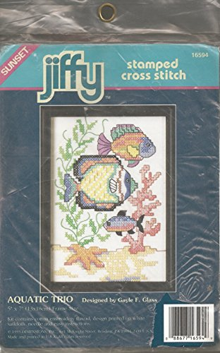 Vintage 1992 Aquatic Trio Stamped Cross Stitch Kit