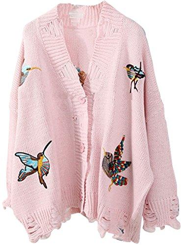 かわいい Vネック ボタン ダウンバード 刺繍 ニット カーディガン セーター