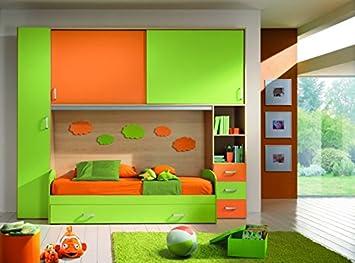 De Haute Qualite Le Chic Chambre à Pont Orange Et Vert Avec Double Lit