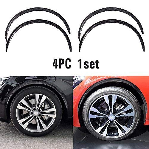(4pcs Universal Car Wheel Fender Trim Kit Widening Wheels Interior Fender Bars Carbon Fiber Color for Benz BMW VW Ford Jeep USW All Cars (Black))