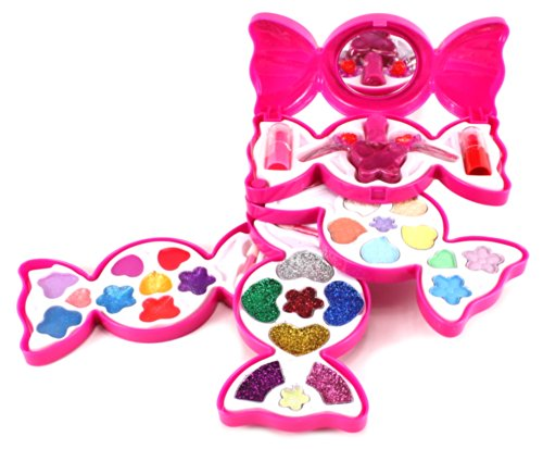 Fashion Girl Candy Mirror Case Pretend Play Toy Make Up Case Kit, Safety Tested, Non-Toxic, Washable, Formulated For Children -